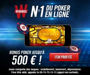 Offre de bienvenue Winamax Poker